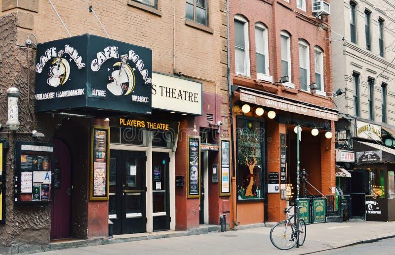 Calle famosa de Manhattan Café del Lower East Side del Greenwich Village de los restaurantes de la comida de New York City fotografía de archivo libre de regalías