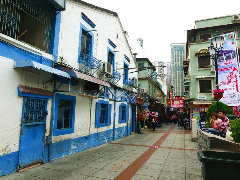 Calle famosa en Macao imágenes de archivo libres de regalías