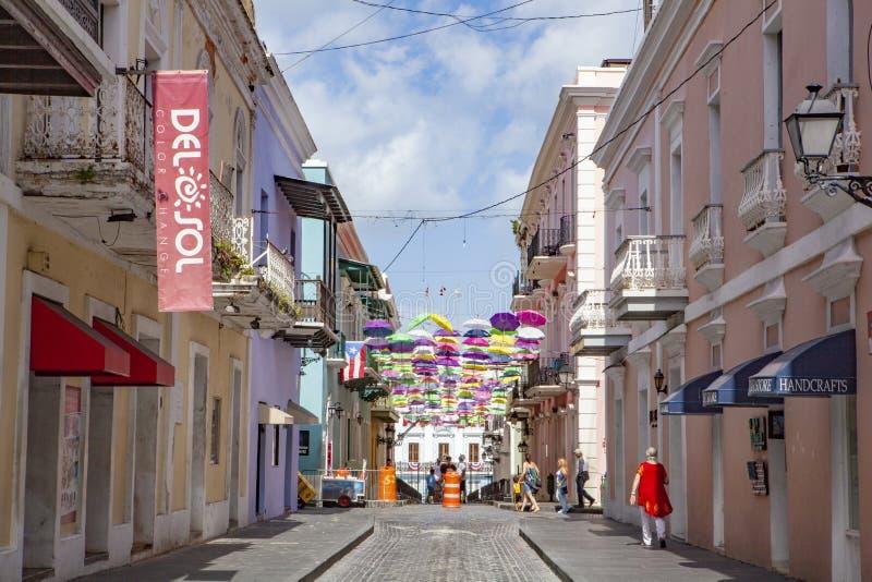 Calle Fortaleza in Old San Juan royalty free stock photos