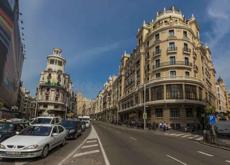 Calle Gran Via merveilleux de Madrid, Espagne photographie stock libre de droits