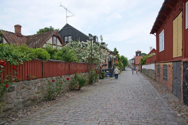 Calle idílica con las rosas y las piedras del adoquín fotos de archivo