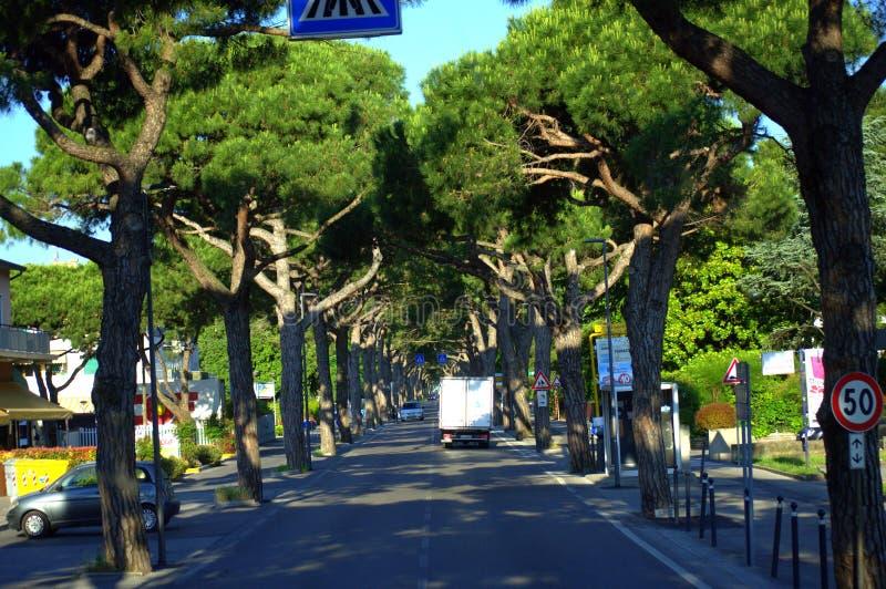 Calle Italia de Lido Di Jesolo fotografía de archivo libre de regalías