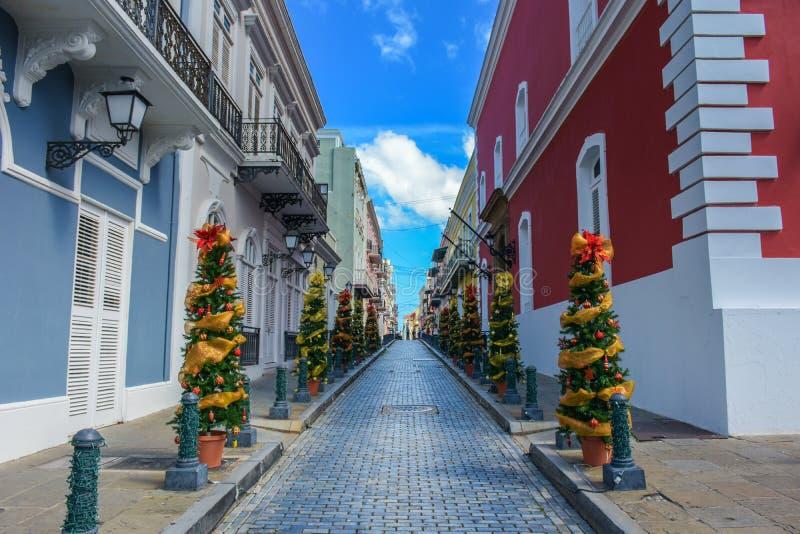 Calle la Fortaleza old san juan royalty free stock photos