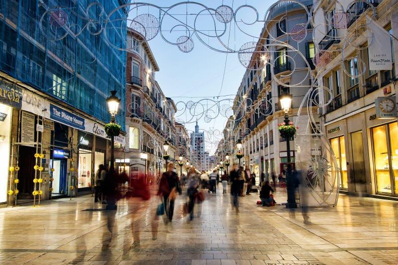 Calle Larios购物街道,马拉加,西班牙 库存图片