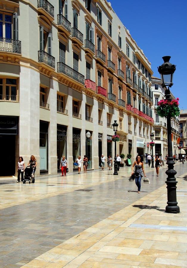 Calle Larios Malaga, Spanien. royaltyfria bilder