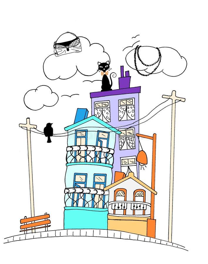 calle linda que mira la impresión en color stock de ilustración