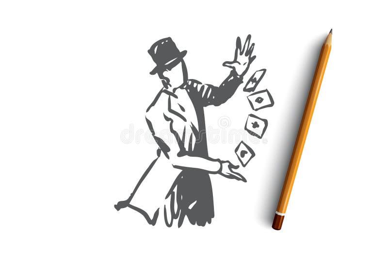 Calle, mago, magia, funcionamiento, concepto del carro Vector aislado dibujado mano libre illustration