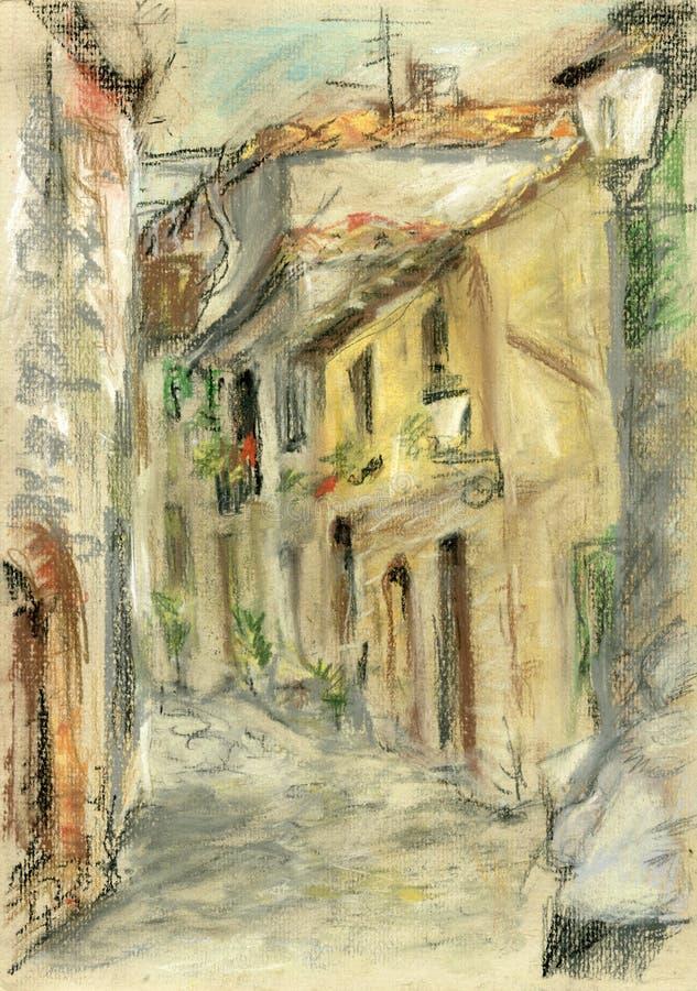 Calle medieval en la ciudad italiana de la colina stock de ilustración