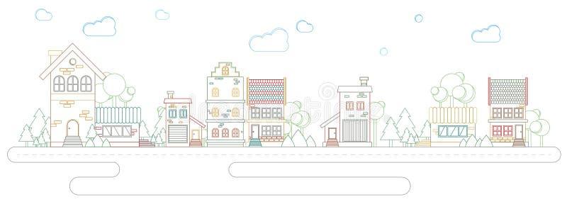Calle moderna del esquema de la tendencia de la arquitectura de edificios y de casas en color libre illustration