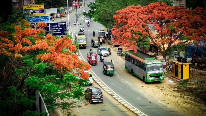 Calle muy transitada de la India foto de archivo