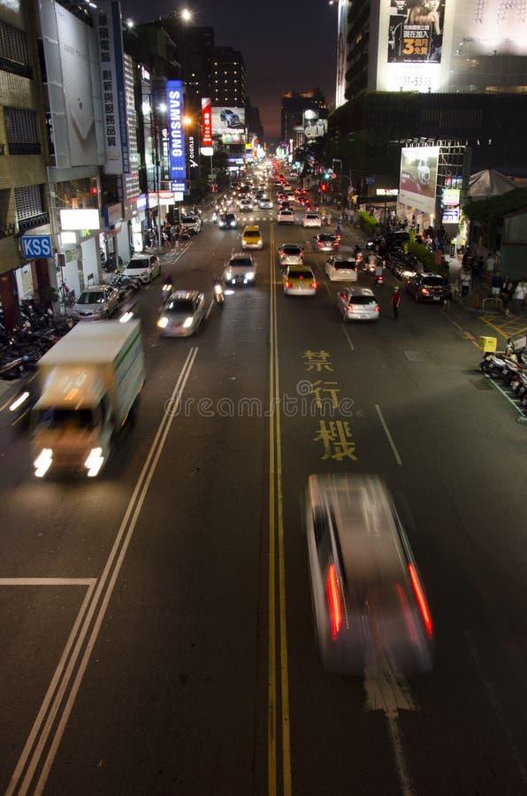 Calle muy transitada mágica en Taiwán fotografía de archivo libre de regalías