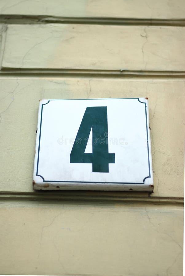 Calle número 4 cuatro fotografía de archivo libre de regalías