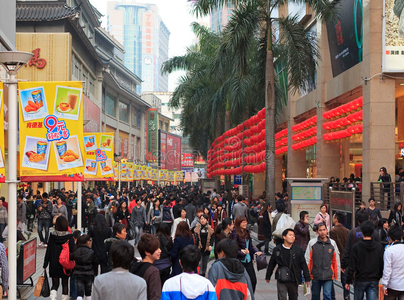 Calle peatonal de Dongmen en Shenzhen, China imagenes de archivo