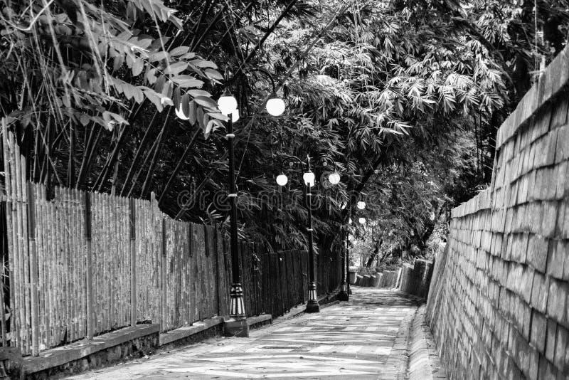 Calle peatonal ocultada imagenes de archivo