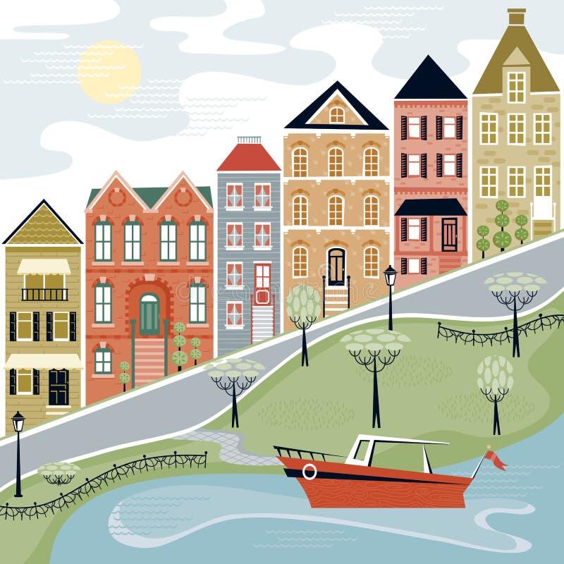 Calle pintoresca de la aldea con escena del agua stock de ilustración