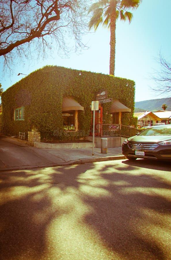 Calle principal en el pueblo del ojai, del cielo azul y de una tienda con la hiedra fotografía de archivo