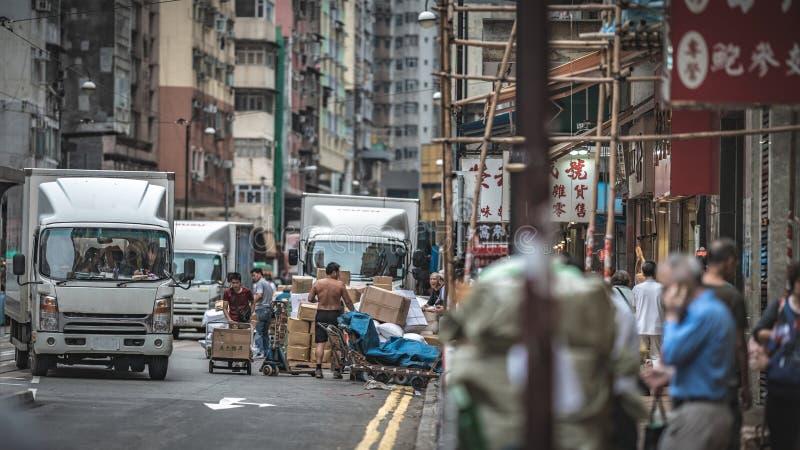 Calle que camina comercial en Hong Kong foto de archivo