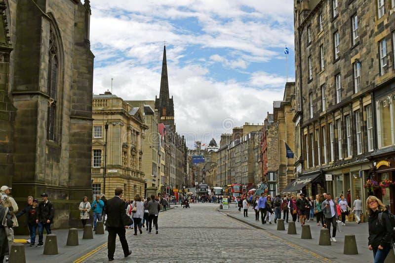Calle real de la milla de Edimburgo, ESCOCIA foto de archivo libre de regalías