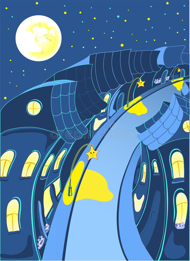 Calle romántica de la noche de la ciudad de hadas ilustración del vector