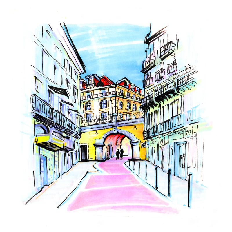 Calle rosada en Lisboa, Portugal ilustración del vector