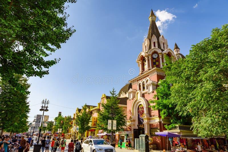 Calle rusa, Dalian, Liaoning, China imagen de archivo libre de regalías