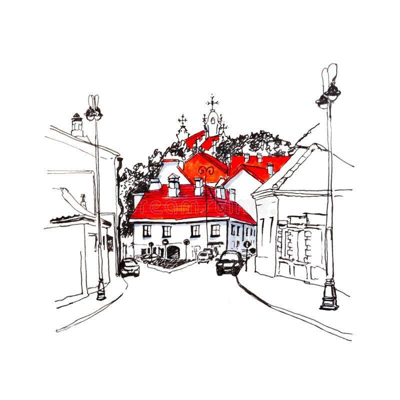 Calle típica en la ciudad vieja de Vilna, Lituania stock de ilustración