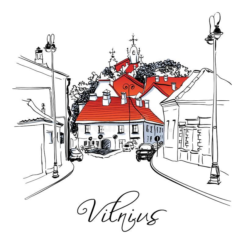 Calle típica en la ciudad vieja de Vilna, Lituania libre illustration