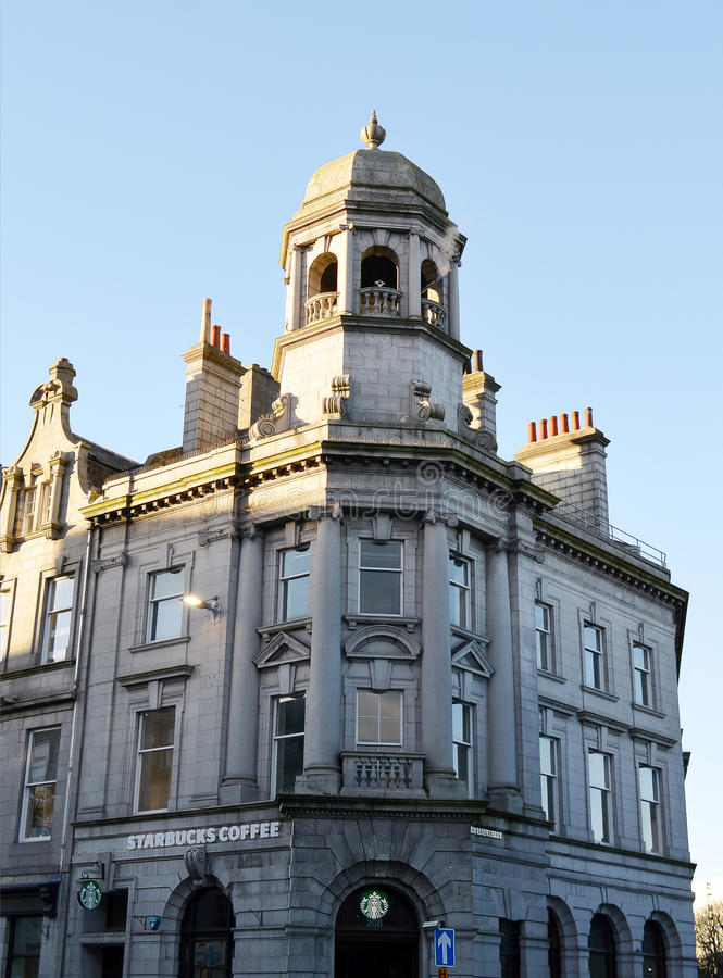 Calle Tarde-victoriana de la unión del edificio, Aberdeen fotografía de archivo libre de regalías