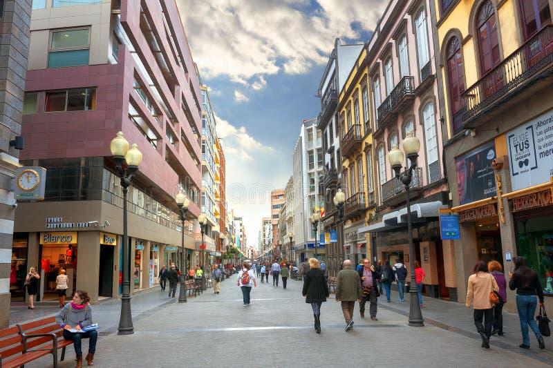 Calle Triana är den huvudsakliga gatan i Las Palmas Gran Canaria, kanariefågelöar, Spanien royaltyfria bilder