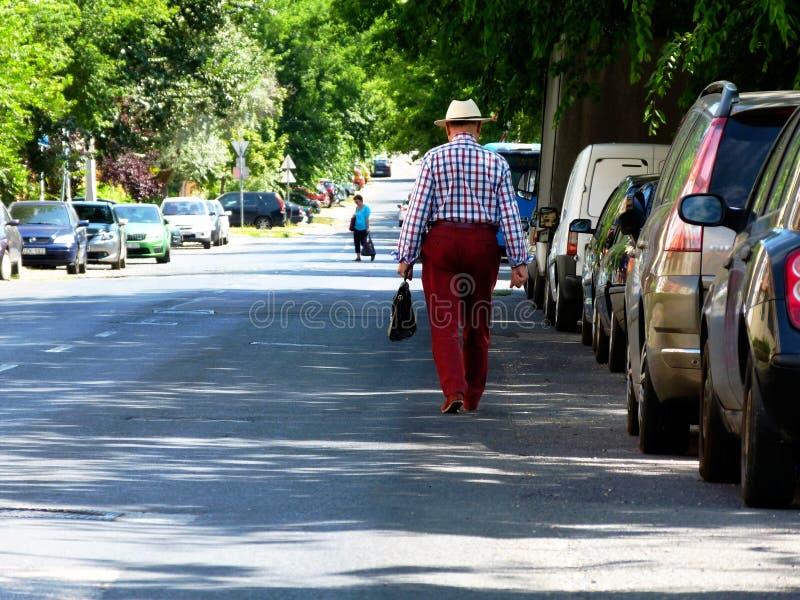 Calle urbana en perspectiva de disminución con los coches parqueados y el hombre mayor que se van en el sombrero blanco imagen de archivo libre de regalías