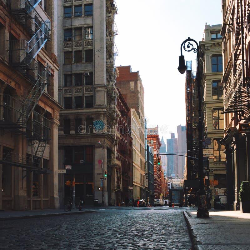 Calle vacía en Soho Manhattan Nueva York fotografía de archivo libre de regalías