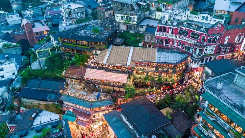 Calle vieja de Jiufen en Taipei Taiwán, calle vieja de Jiufen de la visión aérea en la noche fotografía de archivo