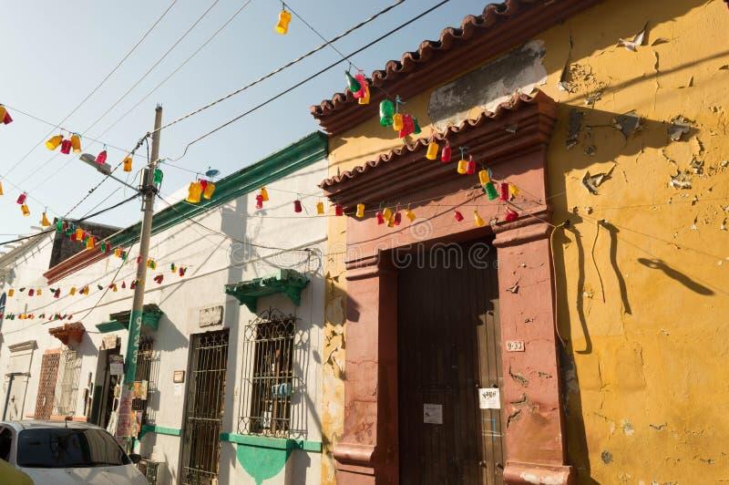 Calle vieja de la ciudad de Cartagena Colombia fotos de archivo
