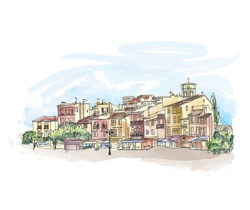 Calle vieja de la ciudad con las tiendas y el café Paisaje urbano europeo Citysca ilustración del vector