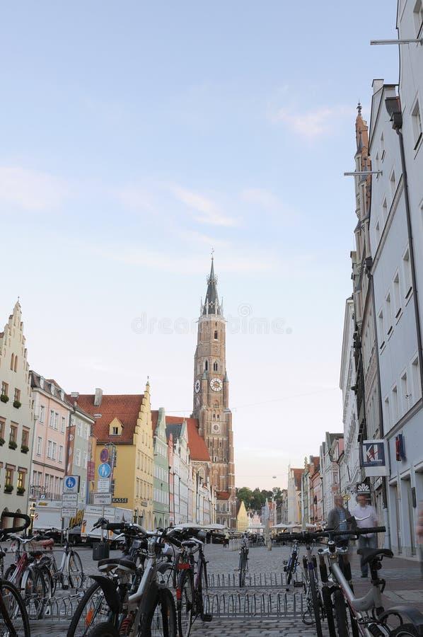 Calle vieja de la ciudad de Landshut foto de archivo libre de regalías