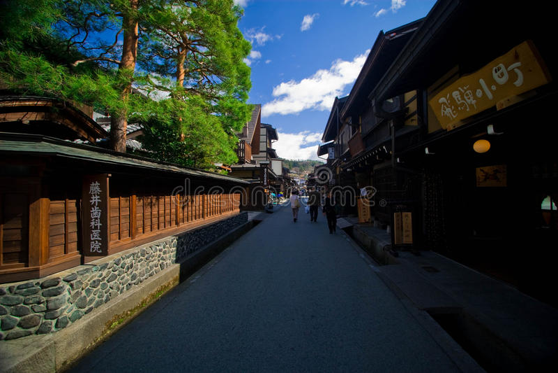 Calle vieja de la ciudad de Takayama fotos de archivo