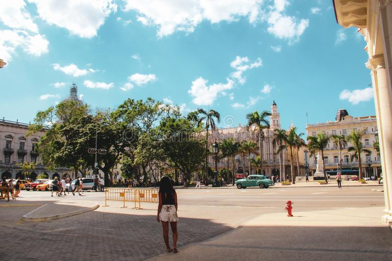 Calle vieja de La Habana en Cuba, Caribbeans foto de archivo