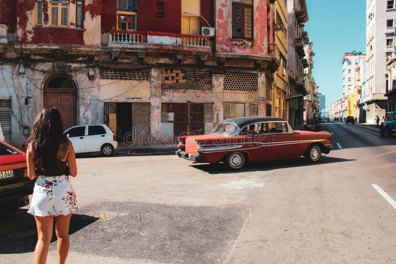 Calle vieja de La Habana en Cuba, Caribbeans fotografía de archivo
