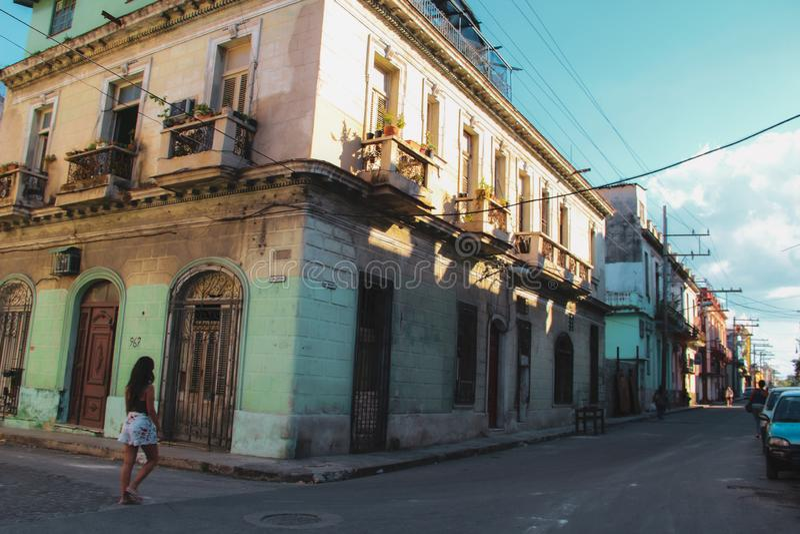 Calle vieja de La Habana en Cuba, Caribbeans foto de archivo libre de regalías