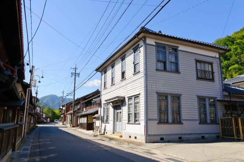Calle vieja de las compras de Komaba en el pueblo de Achi, Nagano meridional, Japón imagen de archivo libre de regalías