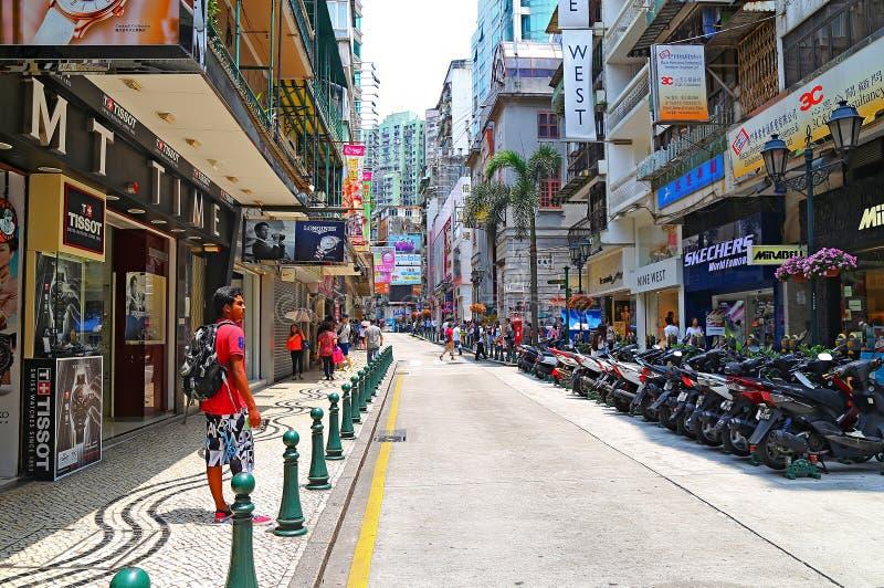 Calle vieja de Macao fotografía de archivo libre de regalías