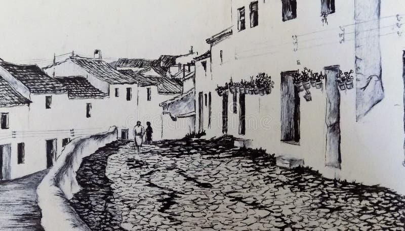 CALLE VIEJA DE MIJAS foto de archivo
