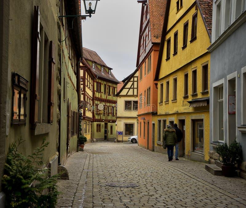 Calle vieja del tauber del der del ob del rothenburg foto de archivo libre de regalías