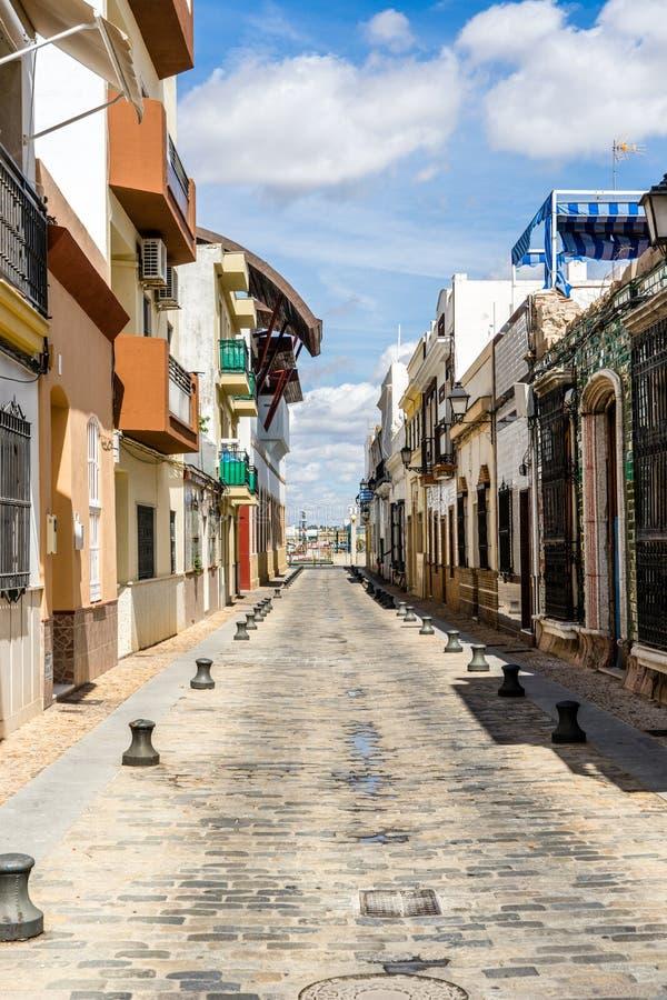 Calle vieja en Isla Cristina fotografía de archivo libre de regalías