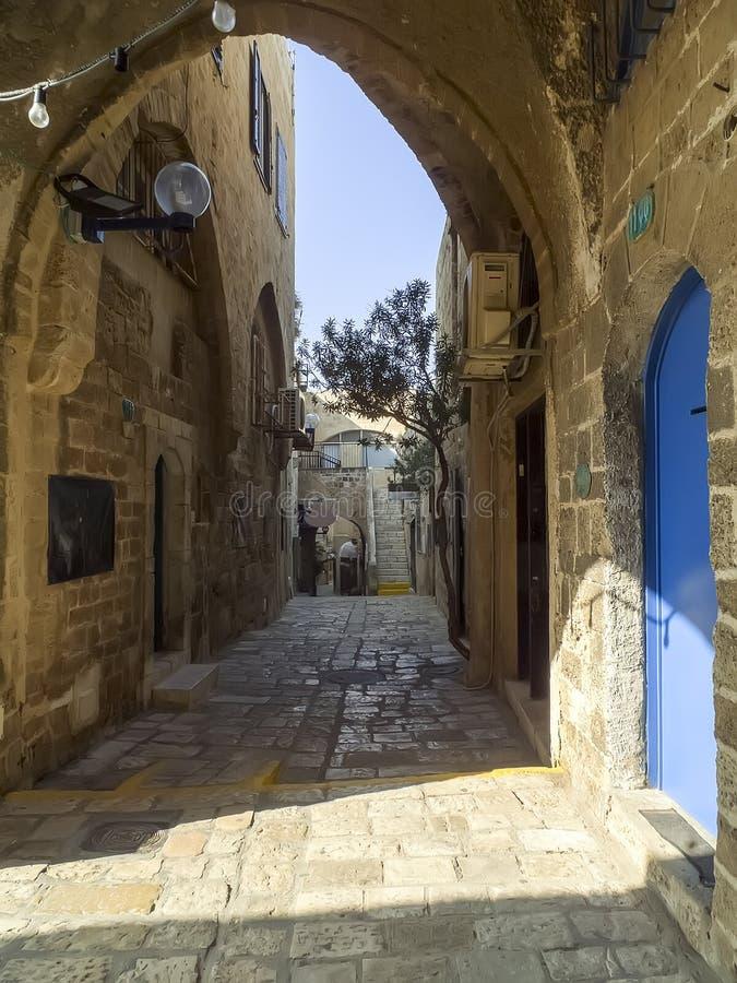 Calle vieja en Jaffa histórico, Israel imagenes de archivo
