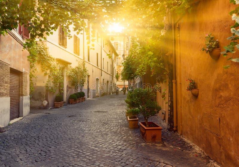 Calle vieja en Trastevere en Roma foto de archivo