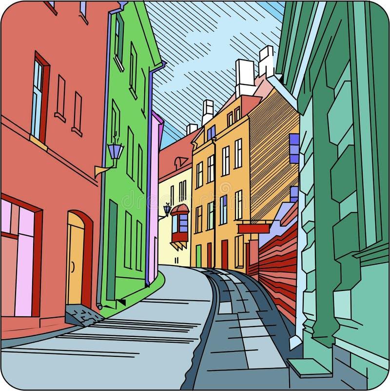Calle vieja en una ciudad vieja ilustración del vector