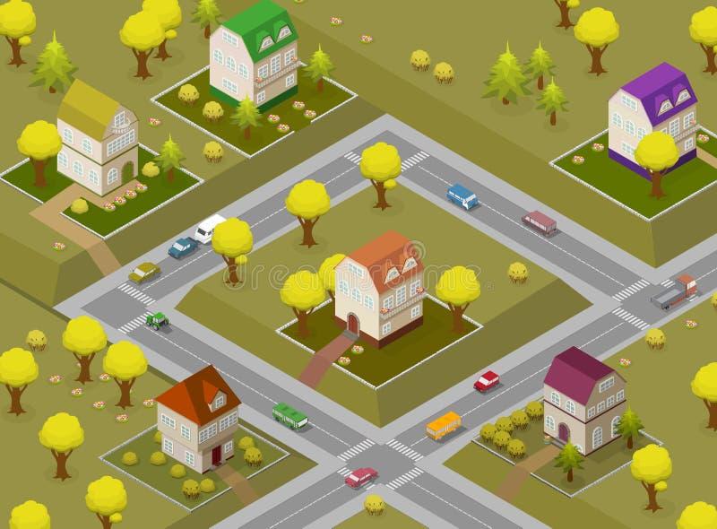 Calle y casas planas Concepto isométrico de Infographic 3d de la navegación GPS del paisaje libre illustration