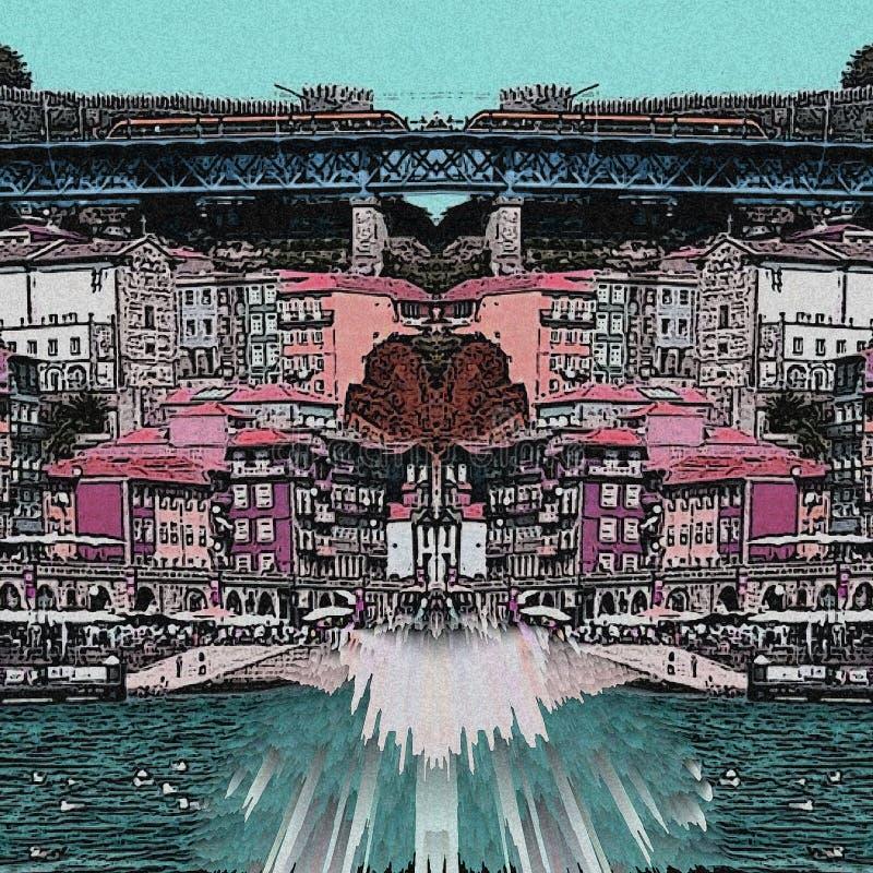 Calle y puente abstractos de Oporto con color verde y rosado ilustración del vector