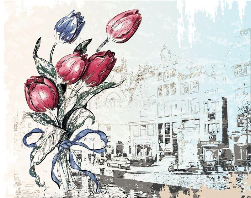 Calle y tulipanes de Amsterdam stock de ilustración